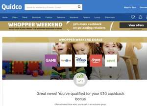 Quidco £10 Extra Cashback for £50 (excluding VAT?) spend offers list
