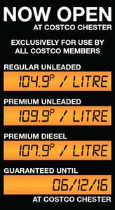 Costco Chester Fuel Station Opens Today! Diesel @ 107.9p /litre Unleaded @ 104.9p/litre