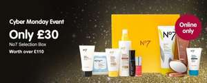 No 7 beauty and skin care selection box worth over £110 for £30 for Cyber Monday online @ Boots