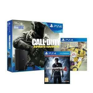 PLAYSTATION 4 SLIM 500GB WITH CALL OF DUTY: INFINITE WARFARE, FIFA 17 AND UNCHARTED 4 £209.99 @ Zavvi