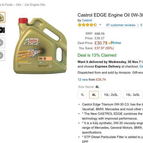 Castrol EDGE Engine Oil 0W-30, 4L £30.78 @ Amazon