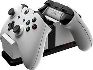 Xbox One Officially Licensed White Dual Charger for Standard and Elite Controllers - includes 2 Rechargeable Batteries
