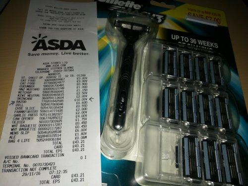 Gilette Mach3 + 12 Blades £10 ASDA