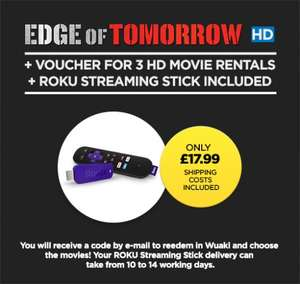 Roku Streaming Stick + Edge of Tomorrow HD + 3 HD Movie rentals £17.99 delivered @ Wuaki
