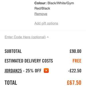 Nike Air Jordan's at 25% off £67.50 at Nike with code JORDAN25, free delivery too
