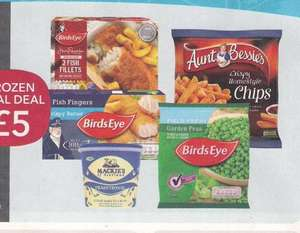 £5 frozen meal deal at the Co-op. Birds eye 100% Crispy Fish fingers 224g, Mackie's traditional Luxury Dairy Ice cream 1L, Birds eye 2 battered fish fillets, 200g, Birds eye garden peas 400g, Aunt Bessie's home style straight cut chips 900g