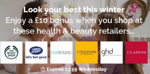 Enjoy £10 bonus when you shop at Bodyshop, Boots, Lookfantastic, L'occitane, ghd, Clarins on £25+ Spend @ Quidco