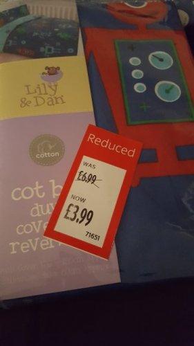 Cot bed duvet set now £3.99 at Aldi