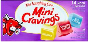 The Laughing Cow Mini Cravings (24 Cubes Onion / Goat Cheese Flavour & Smoked Salmon & Dill Flavour = 125g) was £2.00 now £1.00 @ Tesco