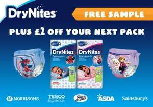 Free DryNites Sample Plus £2 Off Your Next Purchase