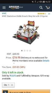 WWE Stackdown Battle Brawlin Ring Set with 3 Figures £16.96 (Prime) / £21.71 (non Prime) Sold by RULYS and Fulfilled by Amazon.