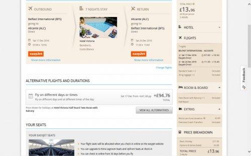 Benidorm Hotel Victoria 7 nights half board + flight + coach transfer from Belfast at Thomson £6.98 pp