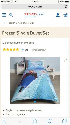 Frozen single Duvet cover £7 Tesco instore