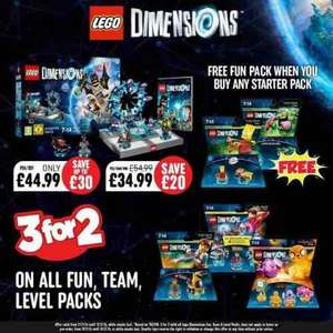 3 for 2 on all LEGO Dimensions Fun, Level & Team packs @ Smyths Toys