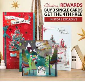 Clinton Cards In store exclusive offer: Buy 3 Single Cards and Get the 4th Free Plus £5 off £15 offer use promo code