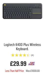 Logitech K400 Wireless Keyboard - was £1000 now £29.99 Argos