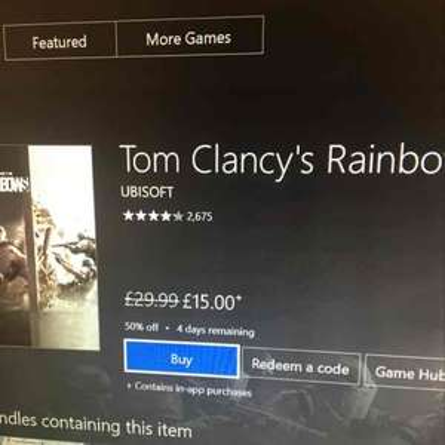 Rainbow Six Siege £15 @ Xbox store