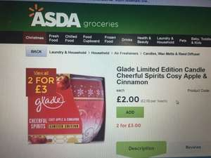 Glade candles 2 for £3 @ Asda
