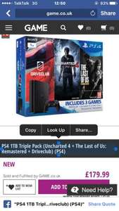 PS4 1TB Triple Pack (Uncharted 4 + The Last of Us: Remastered + Driveclub) (PS4) £179.99 at game