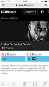 Luther series 1-4 in HD £10.39 @ bbcstore