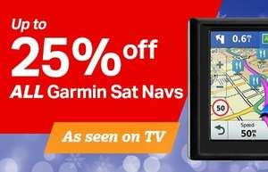 Garmin Up to 25% Off all Satnavs and Half Price Accessories @ Halfords