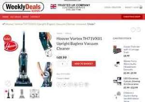 Hoover Vortex TH71VX01 Upright Bagless Vacuum Cleaner £25.00 delivered with code @ Weeklydeals4less