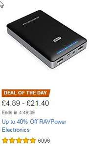 RAVPower 22000mAh Portable Charger (Power Bank) + Car charger £22.73 @ Amazon