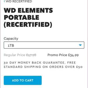 WD elements 1TB recertified  portable USB3 £34.99 @ WD