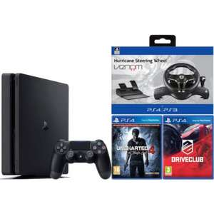 £269.99 PlayStation 4 Slim 500GB console with Uncharted 4, Drive Cluband Assetto Corsa and Hurricane Steering Wheel @ zavvi.com