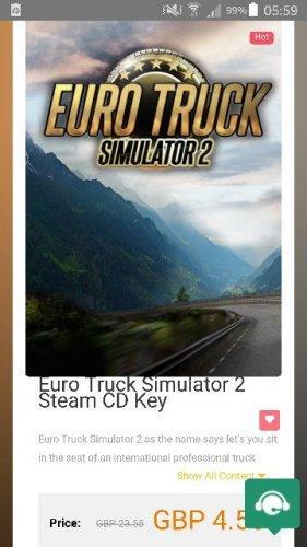 Euro Truck simulator 2 for pc £4.55 scdkey