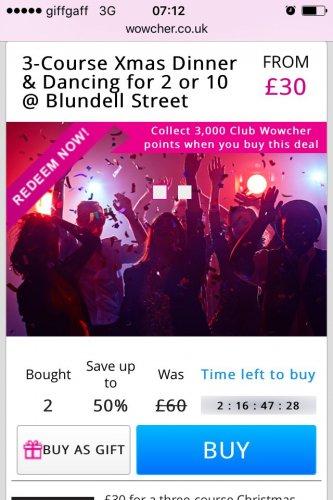 Christmas meal Blundel street Liverpool £30  wowcher / blundellstreetliverpool.com