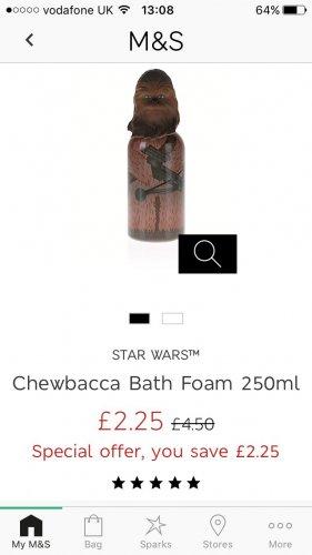 Stars wars bubble bath £2.25 C3PO and chewy M&S