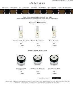 Jo malone 3 miniature(9ml Cologne or 15ml body creme) for free (worth 30GBP+) when you spend 100GBP online, today only!
