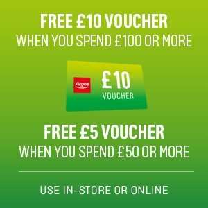 Free £10 voucher when spending £100 or £5 voucher for £50 spend @ Argos 7th-13th Dec
