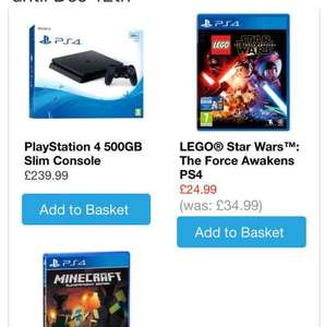 ps4 500gb plus minecraft plus Lego Star Wars from smiths toys £239.99