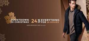 Burton menswear - Countdown to Christmas, 24% off everything for 24 hours