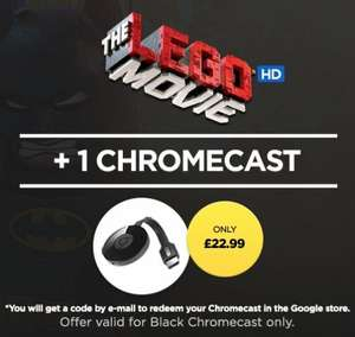 Google Chromecast with Lego Movie HD & 3 Month's Netflix - £22.99 - Wuaki