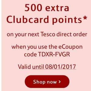 FREE 500 Clubcard Points on next Tesco Direct [With Code] (not sure if account specific) @ Tesco Direct