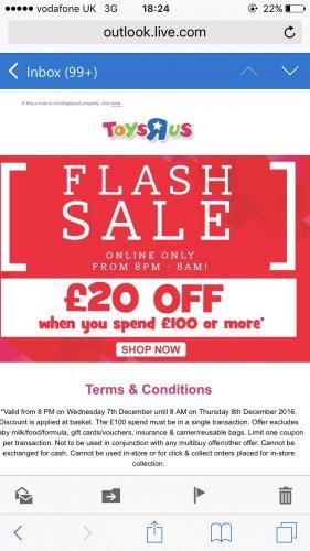 Flash Sale 8pm-8am £20 off £100 @ Toys r Us