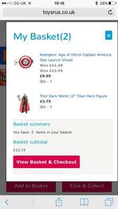 Toys r us buy one get one half price on hasbro including marvel figures
