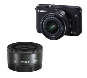 CANON EOS M10 Compact System Camera, 15-45 mm Zoom Lens + 22mm Lens Bundle £329  (£299 with cashback) @ Currys