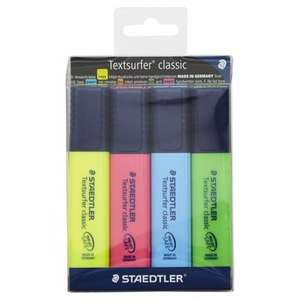 Staedtler Textsurfer Highlighters 4 Pack 1/2 PRICE £2.50 WAS £5 TESCO DIRECT (FREE NEXT DAY C+C)