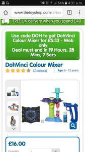 The Entertainer daily deal Doherty vincI colour mixer for £5.33 with code DOH