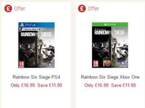 PS4/XB1 Rainbow Six Seige (in-store and online) £16.99 at Sainsbury's