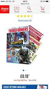 Transformers annual and activity pack £0.10 at Argos