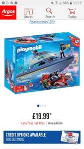 Playmobil Police Boat Playset less than half price - £19.99 @ Argos