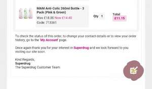 Superdrugs: glitch on MAM anti colic bottles £11.15