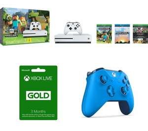 MICROSOFT Xbox One S with Minecraft Favourites +  MICROSOFT Xbox LIVE Gold Membership 3 Month Subscription +  EXTRA MICROSOFT Xbox One BLUE Wireless Gamepad £249.99 @ PC World
