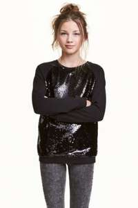 H&M kids gift of the day 50% off girls sequined sweatshirt £8.99