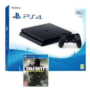 PS4 Slim 500GB Black Console + Call of Duty: Infinite Warfare Bundle Inc Zombies in Spaceland + 2 Free items - £229.85 - Shopto